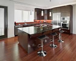 modern eat in kitchen modern dark oak wood floor in kitchen granite countertop wooden