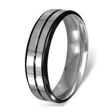 alliance pour homme anneau alliance homme acier inoxydable 2 lignes noir