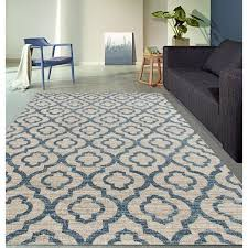 Cream And Blue Rug Moroccan Trellis Pattern Rug