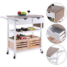 kitchen island cart with drop leaf costway rolling kitchen trolley island cart drop leaf w storage