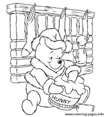 winnie pooh colouring pages children christmasa810
