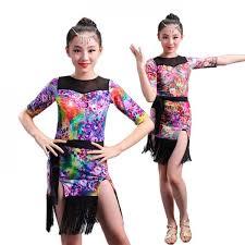 kids samba girl floral sleeves dress children ballroom
