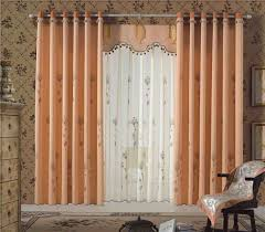 interior soft pastel color curtain with over blind and valance
