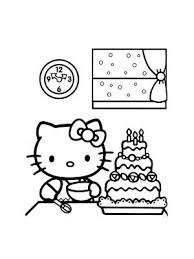 coloriage hello kitty fait un gâteau