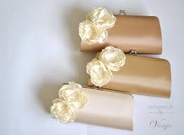 Fowers Beige Latte Vanilla Neutral Colored Clutch With Ivory Fowers