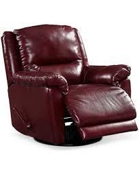 hughstin leather swivel glider recliner furniture macy u0027s