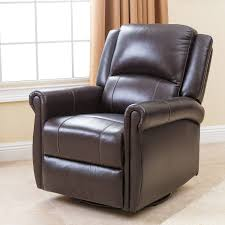 Leather Swivel Recliner Furniture Leather Swivel Nursery Recliner With Side Table And Rug
