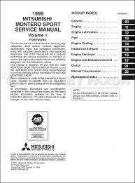 1998 mitsubishi montero sport repair shop manual set original
