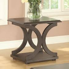 30 inch c table furniture dark stained wood c shape livingroom accent table with