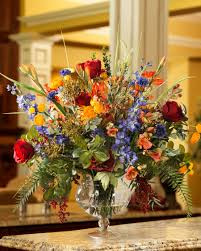 Traditional Flower Arrangement - distinctive glorious garden silk flower centerpiece at petals
