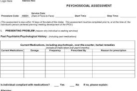 psychosocial assessment example psychosocial assessment template