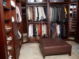 classy brown lacquered mahogany wood closet shelving unit decor