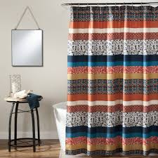 Boho Window Curtains Boho Stripe Shower Curtain Turquoise Tangerine Walmart