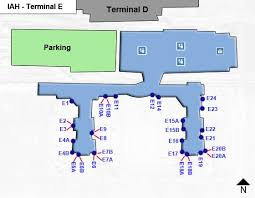map houston airports houston intercontinental airport iah terminal e map