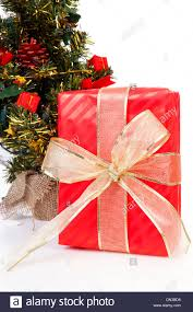 big present bow christmas present with big golden bow near tree on white