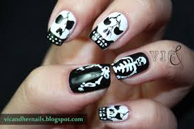 vic and her nails halloween nail art challenge skull skeleton