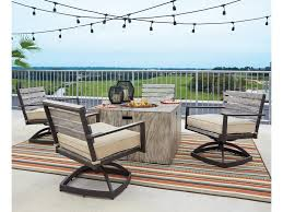 Patio Furniture Sets With Fire Pit by Signature Design By Ashley Peachstone 5 Piece Fire Pit Set With