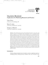 heuristics revisited implications for marketing research and