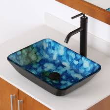 elite 1406 rectangle cloud style art tempered glass bathroom