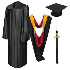 black cap and gown shiny black bachelors cap gown tassel