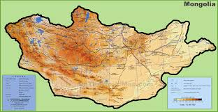 Physical Map Of China by Mongolia Physical Map