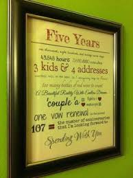 5th year anniversary ideas 5 year anniversary 1 gift that reminds you of each year of