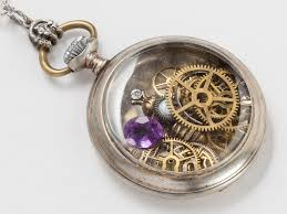 antique silver necklace pendant images Steampunk necklace sterling silver pocket watch movement case jpg