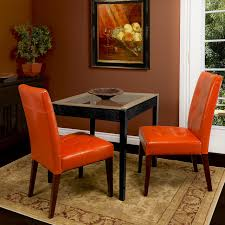 Leather Dining Room Furniture Highland Burnt Orange Leather Dining Chair Set Of 2 Modern