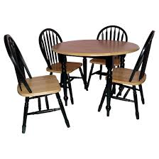 Drop Leaf Dining Room Table by 5 Piece Double Drop Leaf Dining Set Wood Natural Black Tms