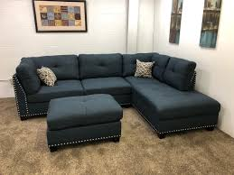 Sectional Sofa Chaise Lounge 0 In Stock N754r 250 Blue Studded Linen Sectional Sofa W