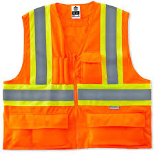 Construction High Visibility Clothing Hi Vis Work Vest Two Tone X Back Zipper Ergodyne