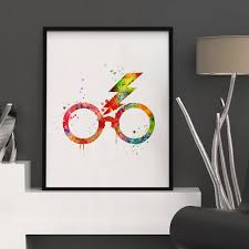 Hanging Art Prints Harry Potter Glasses Watercolor Nursery Art Print Kids Wall Art