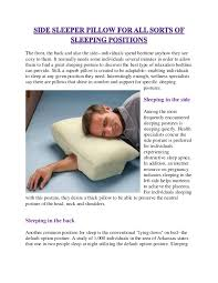 Comfortable Positions To Sleep During Pregnancy Side Sleeper Pillow For All Sorts Of Sleeping Positions