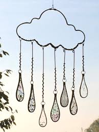 frozen raindrop cloud with stained glass droplets http