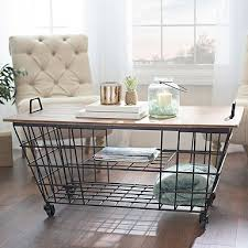 wire and wood basket side table industrial wire and wood basket side table cart coffee table