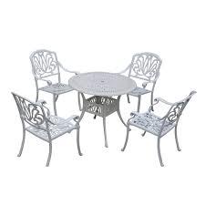 outsunny 5 piece cast aluminum outdoor antique patio bistro dining