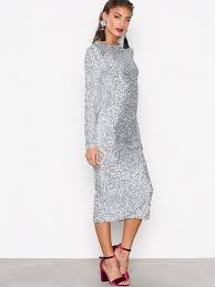 sequin dress midi sequin dress nly trend silver party dresses clothing