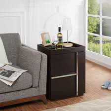Sofa End Tables With Storage by Marille Walnut Multi Storage End Table Chair Table Lamp Display