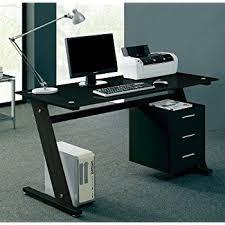 Glass Computer Desk Black Glass Computer Desk Amazon Co Uk Kitchen U0026 Home