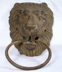 antique large unique lion head cast iron door knocker ring pull