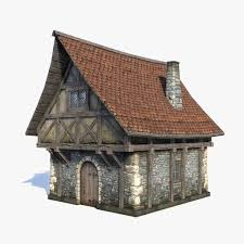 fantasy medieval house game low poly 3d model game 3d models