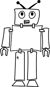 robot black white art coloring book colouring hunky dory