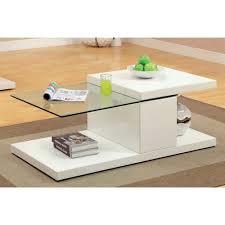 furniture of america vironte high gloss swivel top coffee table