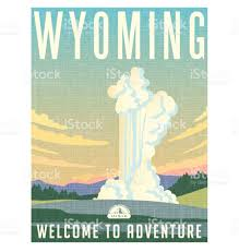 Wyoming travel posters images Yellowstone national park clip art vector images illustrations