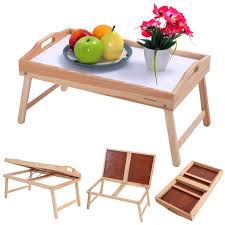 Wooden Folding Bed Wood Bed Tray Breakfast Food Serving Hospital Table Lap Desks