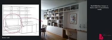 bibliothèque avec bureau intégré bureau integre biblio idées renovation bureau