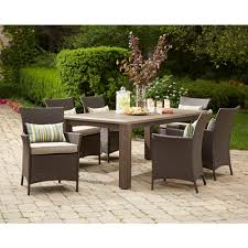 Hampton Bay Sectional Patio Furniture - hampton bay tacana 7 piece wicker outdoor dining set with beige