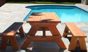picnic table with detached benches treenovation