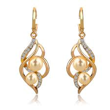 ear ring longway wedding charm earrings for women with simulated pearl drop