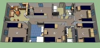 california baptist university residence life the cottages cottage floor plan with furnishings